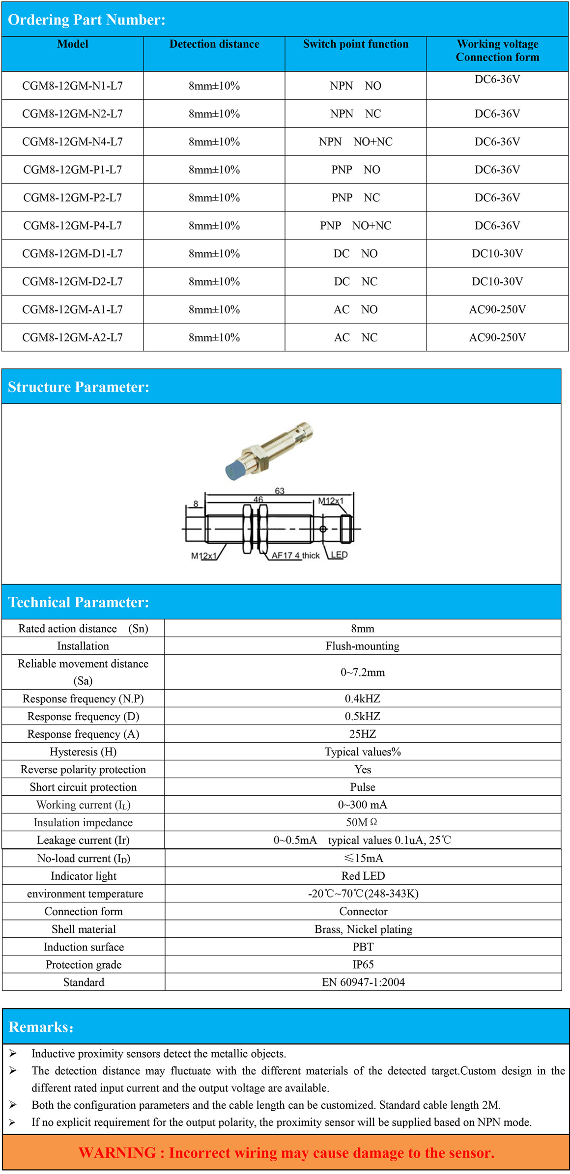 M12 Inductive Proximity Sensor with Detection Distance Sn 4mm PNP NPN